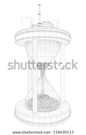 drawing of nuclear power plant on huge hourglass with