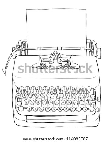 Drawing Line Typewriter Stock Photos, Images, & Pictures