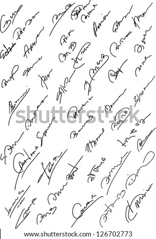 Collection of fictitious contract signatures. Autograph