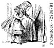stock vector : Alice in Wonderland. Alice is looking behind a curtain to reveal a hidden door: Alice's Adventures in Wonderland. Illustration from John Tenniel, published in 1865.