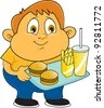 stock vector : A young person holding a tray of burgers