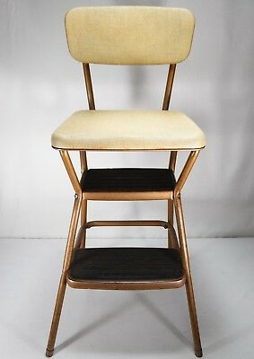 how to fold up a cosco high chair target dish vintage zeppy io mid century step stool beige brown bronze w seat lift