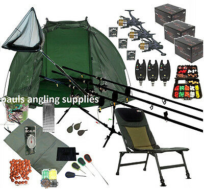 fishing chair setup office chairs for cheap zeppy io 3 shakespeare rod carp set up kit reels alarms bait tackle mat