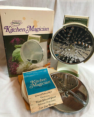 kitchen magician yellow table vintage slicer cutter zeppy io 1970 popeil food shredder complete