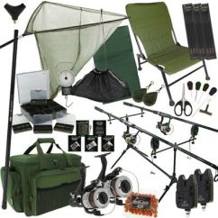 Fishing Chair Setup Office Chairs For Sale Carp Zeppy Io Full Set Up Rods Reels Hair Rigs Bite Alarms Holdall
