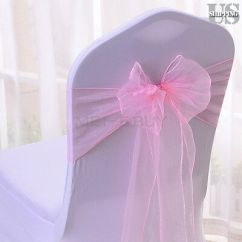Chair Covers And Bows Ebay Best Compact High Organza Zeppy Io 10 50 100 8 X108 Sash Cover Sashes Bow Wedding Party Decor Pink 6 79