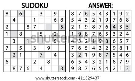 Sudoku Puzzle Game Vector Sudoku Puzzle Stock Vector