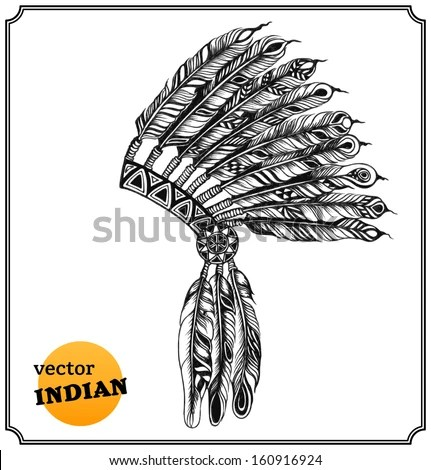 Native American Indian Headdress Feathers Sketch Stock