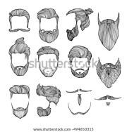 man hairstyle set handdrawn sketches