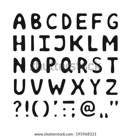 Vector Hand Drawn Alphabet On Gray Stock Vector 514550806