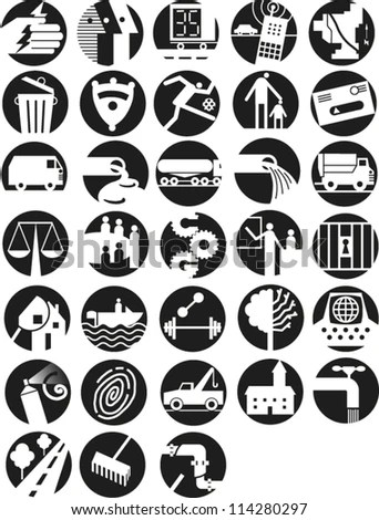 Set Round Icons Illustrating Infrastructure Government