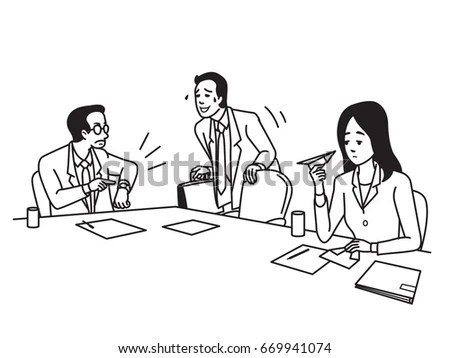 Businessman Office Worker Has Come Meeting Stock Vector