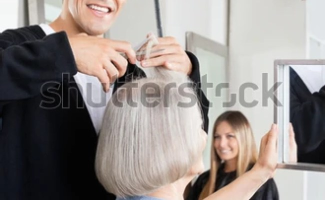 Portrait Professional Male Hairdresser Cutting Female