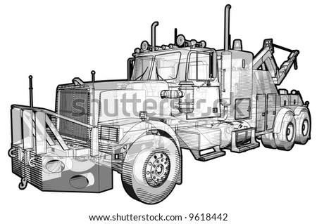 Sketchy Schematic Illustration Tow Truck Stock
