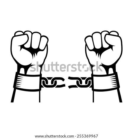 Hands Breaking Steel Chain Stock Vector 255369967