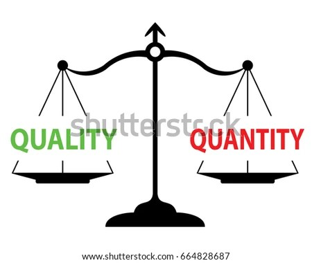 Scales Measuring Quality Versus Quantity Equal Stock