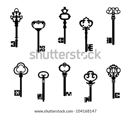 Old Antique Keys Vintage Style Vector Stock Vector