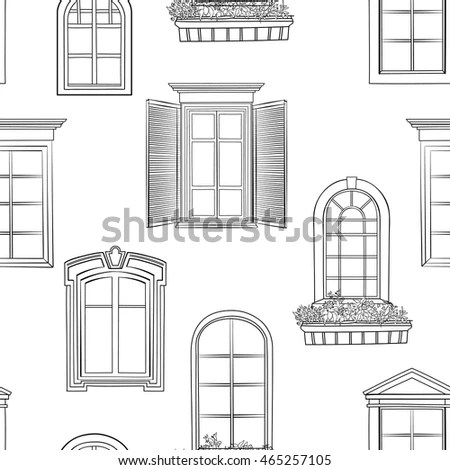 Old Doors Vintage Style On Watercolor Stock Vector