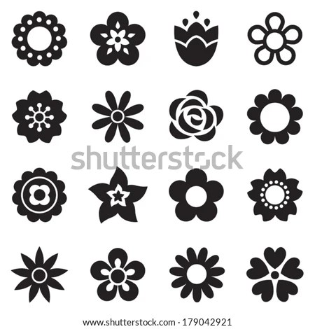 Set Retro Style Flowers Insects Bright Stock Vector