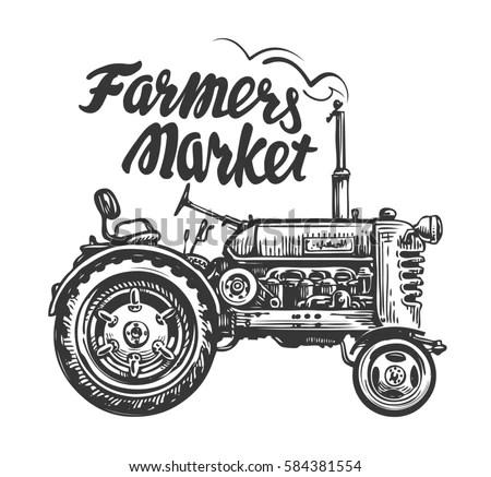 Vintage Agricultural Tractor Sketch Farmers Market Stock