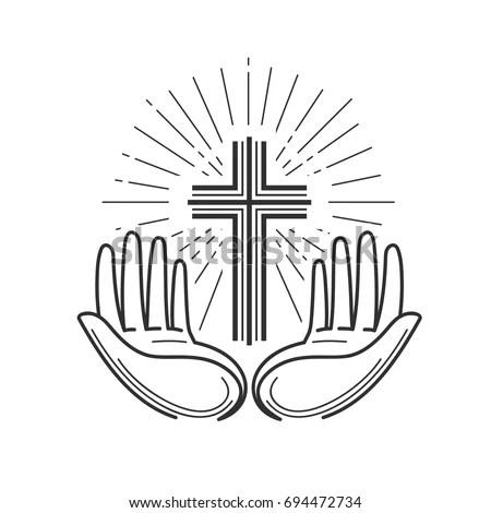 Church Religion Logo Bible Crucifixion Cross Stock Vector