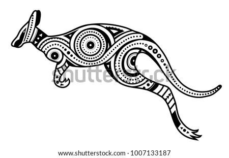 Tattoo Kangaroo Shape Filled Ethnic Australian Stock