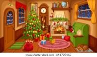 Vector Illustration Christmas Living Room Sofa Stock ...