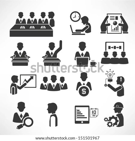 Office Management Icons Set Business Management Stock