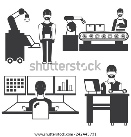 Factory Worker Working Machinery Vector Icons Stock