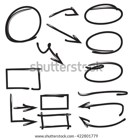 Hand Drawn Design Elements Arrows Underlines Stock Vector