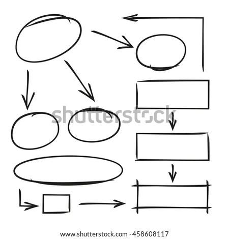Hand Drawn Diagram Template Arrows Stock Vector 458608117