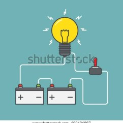 Light Wiring Diagram Loop 3 Way Switch With Pilot Circuit Concept Battery Power Flat Stock Vector 609436997 - Shutterstock