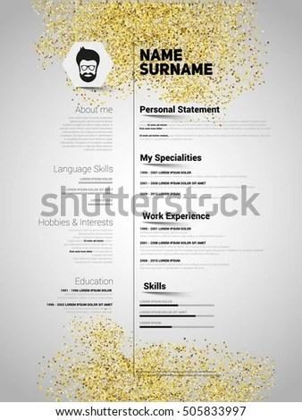 Resume Minimalist Cv Gold Glitter Style Stock Vector
