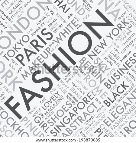 Fashion Vector Background Words Cloud Stock Vector