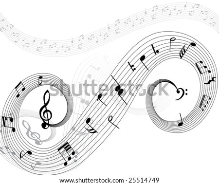 Vector Music Background Melody Notes Key Stock Vector