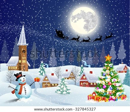 Christmas Landscape Christmas Tree Snowman Gifbox Stock Vector Royalty Free 327845327