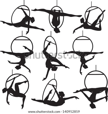 Set Aerial Hoop Acrobat Woman Silhouette Stock Vector