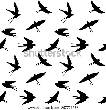 Vector Seamless Pattern Flying Birds Black Stock Vector