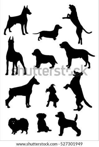Dog Silhouettes Eps 8 Vector Grouped Stock Vector
