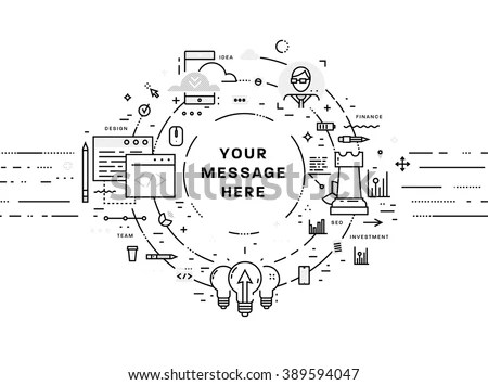 Flat Style Thin Line Art Design Stock Vector 389594047