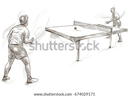 Hand Sketch Table Tennis Players Vector Stock Vector