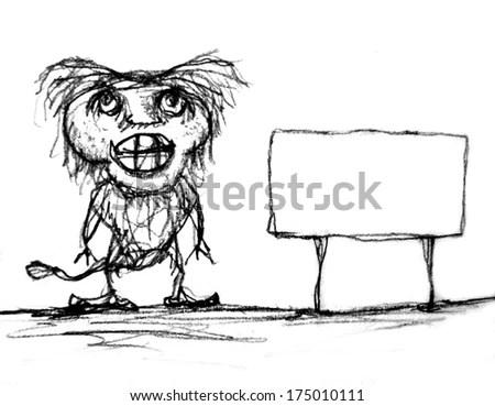 Hand Drawn Sketch Cartoon Illustration Bigfoot Stock