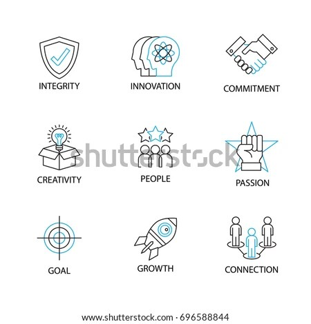 Modern Thin Line Icon Pictogram Word Stock Vector
