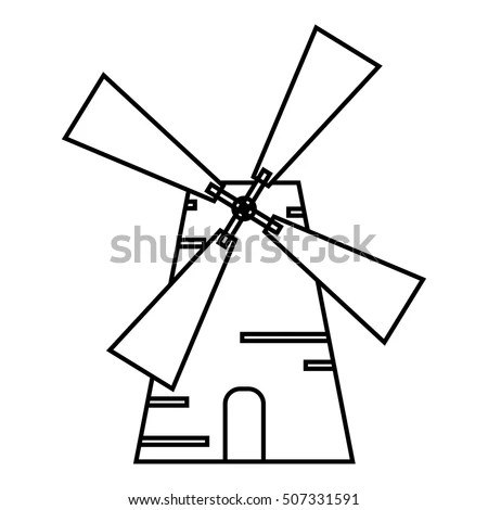 Black Wire Barn Windmill Isolated On Stock Photo 2413137