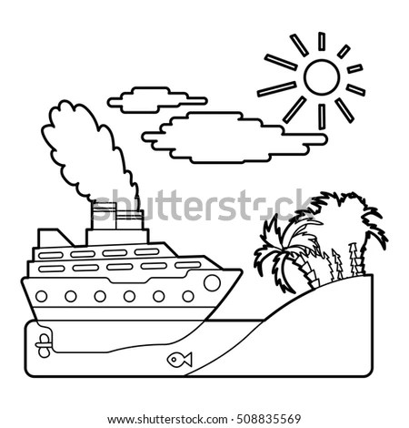 Vector Illustration Cartoon Ship Captain Pointing Stock