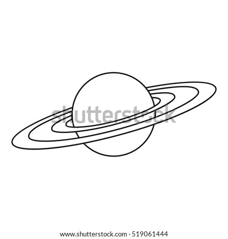 Saturn Planet Icon Outline Illustration Saturn Stock