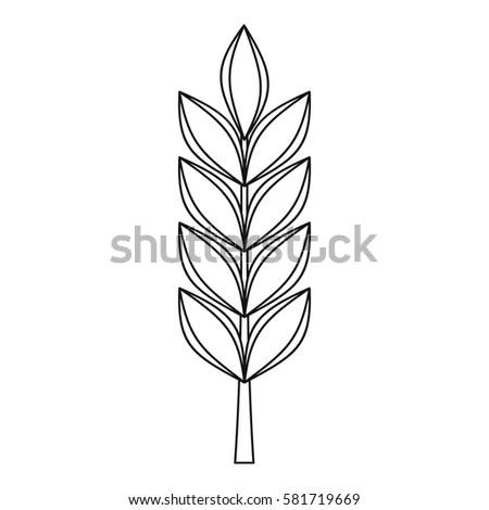 Wheat Spike Icon Simple Illustration Wheat Stock Vector