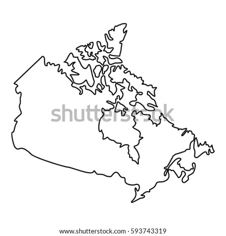 Thin Line Map Canada Icon Outline Stock Vector 580128853