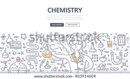 Doodle Vector Illustration Scientist Woman Chemistry Stock