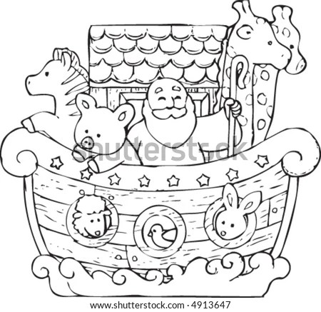 Noahs Ark Illustrated Childfriendly Cartoon Style Stock